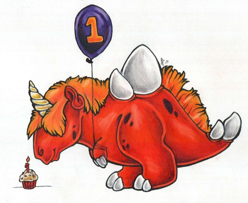 Dinosaur with birthday balloon